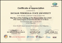 Certificate of Appreciation given by APEC and other organizations to BPSU for conducting Training on Responsible Use of ICT